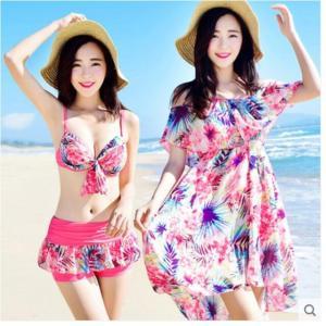 水着 レディース   花柄  ビキニ  3点セット 体型カバー タンキニTシャツ ラッシュガード  セット 人気 20代 30代 40代 50代 AlohaMahalo rainbow-beach88