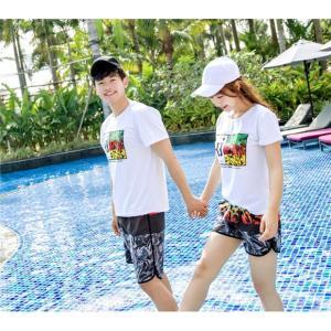 ペアルック カップル Tシャツ ハーフパンツ 2点セット セットアップ レディース メンズ ペアパジャマ 上下セット 夏 カップルお揃い 海の日 新婚旅行 ご夫婦|rainbow-beach88