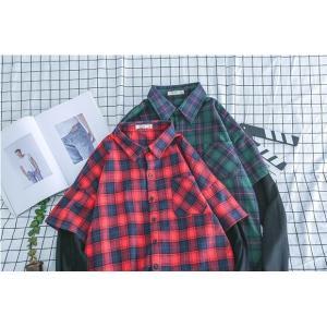 ネルシャツ メンズ 長袖 大きいサイズ チェックシャツ アメカジ 春 ユニセックス デザイン 綿 コットン 通学 新春セール|rainbow-beach88