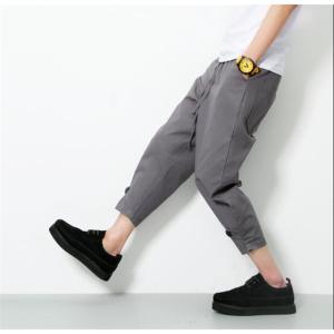 テーパードパンツ 大きいサイズパンツ メンズ 八分丈パンツ ズボン ファッション 春夏服 無地 カジュアルパンツ|rainbow-beach88