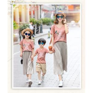 Tシャツ 親子 サーフパンツ 半袖 Tシャツ 子ども服 夏物 セットアップ レディース キッズ ペアルック カップル 家族 親子服 上下2点セット|rainbow-beach88