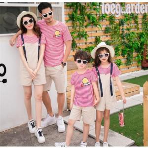 親子お揃いで Tシャツ ワンピース サロペット パンツ 女の子 子ども服 夏物 レディース キッズ ペアルック カップル 家族|rainbow-beach88
