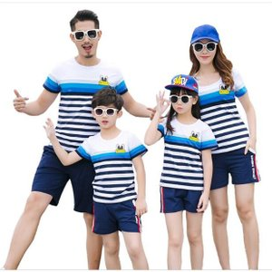 Tシャツ 親子 サーフパンツ 子ども服 夏物 セットアップ ワンピース レディース キッズ ペアルック カップル 家族|rainbow-beach88