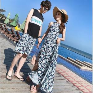 ペアルック カップル Tシャツ ハーフパンツ 2点セット セットアップ レディース メンズ ペアパジャマ 上下セット 夏 海の日 新婚旅行 AlohaMahalo|rainbow-beach88