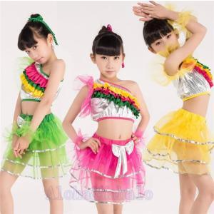 ダンス衣装 子ども ジャズ 2点セット キッズ お祝い 女の子 男の子 発表会 学園祭 AlohaMahalo 社交ダンス イベント用 演出|rainbow-beach88