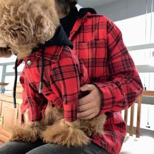 犬とお揃いコーデ 犬 ペアルック チェック柄シャツ 大型犬/小型犬 春夏服 お揃いの服♪ペットとオー...