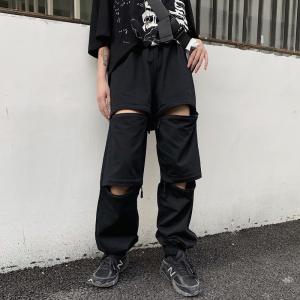 パンツ ナイロン 無地 ジッパー ブラック ドロスト ダンス 衣装 韓国 ヒップホップ レディース|rainbow18-store