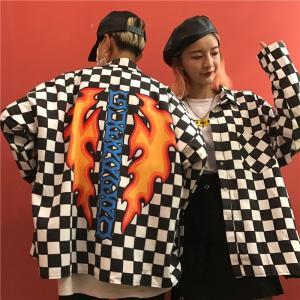 シャツ 長袖 ブロックチェック柄 ストリート ロゴ 炎 レーサー カジュアル トップス ダンス 衣装 韓国 ヒップホップ レディース メンズ|rainbow18-store