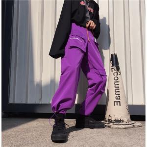 ボトムス カーゴパンツ ロゴ スポーティ ユニセックス ダンス 衣装 韓国 ファッション 大きいサイズ 個性的 服 原宿系|rainbow18-store