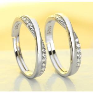 指輪 レディース サイズフリー ダイヤ ウエーブ X型 シル...