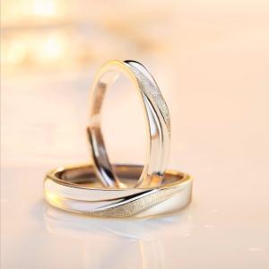 ペアリング通販 2本セット シンプル フリーサイズ 指輪 シルバー925 プラチナ仕上げ 激安ペアリ...