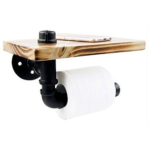 P3 パイプ型 ビンテージ ペーパーホルダー 棚付き レトロ アイアン トイレ キッチン トイレット...