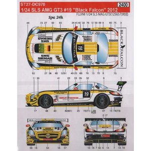 スタジオ27 DC970 1/24 SLS AMG GT3 #19 'Black Falcon' 2012 デカール F社対応|rainbowten