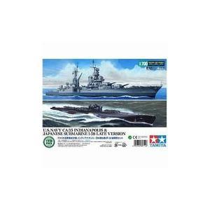タミヤ 89714 1/700 アメリカ重巡洋艦インディアナポリス & 日本潜水艦 伊-58 後期型|rainbowten