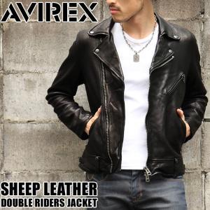 AVIREX アヴィレックス シープ ダブル ライダースジャケット アウター レザージャケット シープレザー 本革 羊革 革ジャン リアルレザー|rainbunker