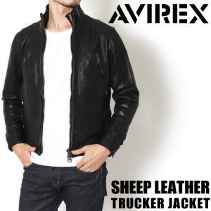 AVIREX アヴィレックス シープスキン トラッカージャケット 6171065 ミリタリー メンズ アウター レザー ジャケット 本革 シープレザー|rainbunker