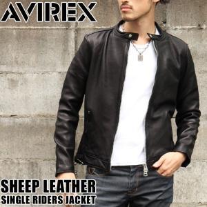 AVIREX アヴィレックス シープ シングル ライダースジャケット メンズ レザージャケット 革ジャン スタンドカラー 羊革 本革|rainbunker