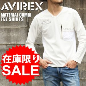 AVIREX アヴィレックス マテリアル コンビ ミリタリー Tシャツ avirex アビレックス メンズ トップス 長袖 ステンシル ミリタリー セール|rainbunker