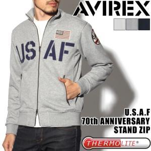 AVIREXキャンペーン対象 AVIREX アヴィレックス アビレックス U.S.A.F. 70周年記念モデル スタンドジップ ジャケット スウェット 6173436 メンズ トップス 裏毛|rainbunker