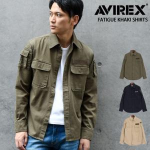 AVIREX アヴィレックス ファティーグ カーキ シャツ avirex アビレックス メンズ 長袖 シャツ ミリタリーシャツ ミリタリージャケット 1718saf|rainbunker