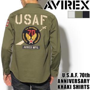 AVIREX アヴィレックス U.S.A.F. 70th ANNIVERSARY カーキシャツ avirex 長袖 ミリタリーシャツ 1718saf|rainbunker