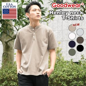 グッドウェア Tシャツ メンズ ヘンリーネック ボタンダウン 半袖 トップス おしゃれ ブランド 厚手 大きいサイズ Goodwear 綿100% カットソー かっこいい