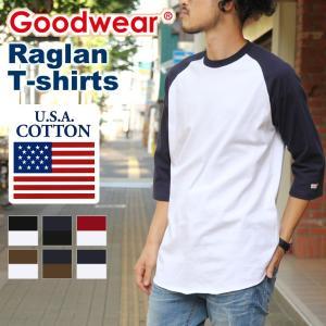 Goodwear グッドウェア ラグラン 7分袖 Tシャツ ロンT ロングTシャツ メンズ レディース トップス カットソー ラグランスリーブ 七分袖|rainbunker