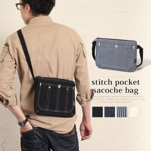 Rename サコッシュ バッグ ステッチポケット サコッシュ メンズ ショルダー ショルダーバッグ メッセンジャーバッグ バッグ 帆布 デニム|rainbunker