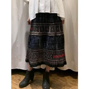 手刺繍 モン族 ロングスカート ネイビー系|rainforest