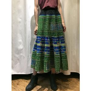 【モン族】手刺繍 フレアロングスカート 【グリーン】|rainforest