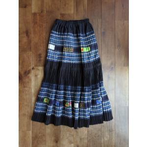 【モン族】手刺繍 フレアロングスカート 【ブルー】|rainforest