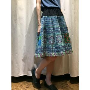 【モン族】手刺繍 プリーツミディアムスカート 【ブルー】|rainforest