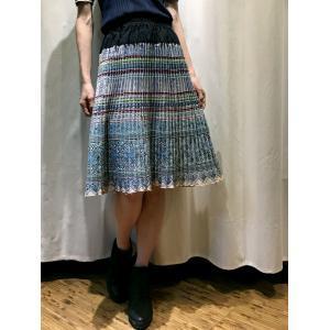 手刺繍 モン族 プリーツミディアムスカート 【ブルー】|rainforest