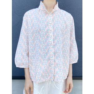 【ボタニカル刺繍】コットン刺繍ブラウス【ピンク】|rainforest