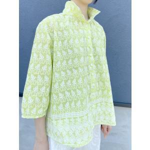 【ボタニカル刺繍】コットン刺繍ブラウス【イエローグリーン】|rainforest