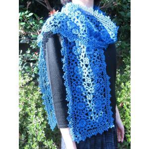 手編み タティングレース スカーフ ブルー|rainforest