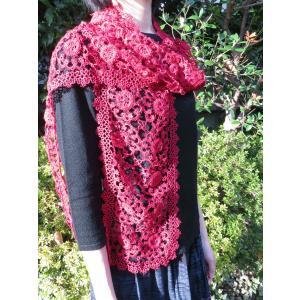 手編み タティングレース スカーフ レッド|rainforest
