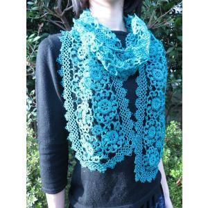 手編み タティングレース スカーフ グリーン|rainforest