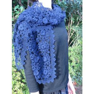 手編み タティングレース スカーフ ネイビー|rainforest