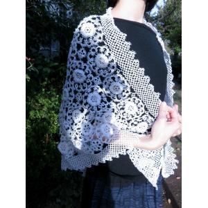 手編み タティングレース スカーフ ホワイト|rainforest