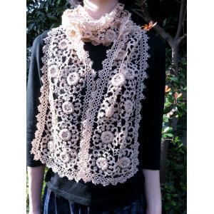 手編み タティングレース スカーフ ベージュ|rainforest