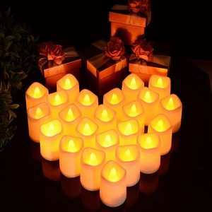 Litake LED キャンドル キャンドルライト 24個セット 電池ろうそく 無香料 ティーライト 揺らぐ炎 波形の口 暖白 ウォームホワ|rainyblues