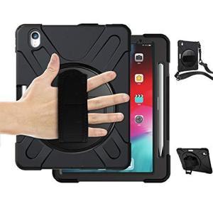 iPad Pro 11 ケース2018 ペンホルダー Lively house ペン収納 ショルダー 肩掛け シリコン 360度 回転 ハン rainyblues