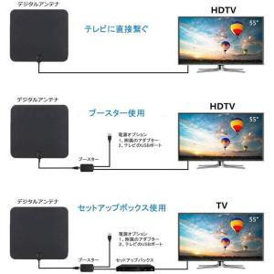 室内 テレビアンテナ HD TVアンテナ 80KM受信範囲 信号ブースター付き UHF VHF対応 全種類テレビ対応 設置簡単 避雷 USB|rakuget