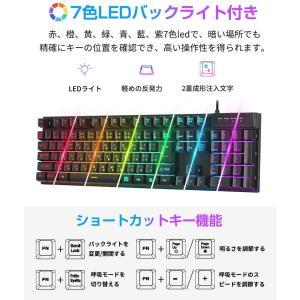 HOKONUI ゲーミングキーボード 有線 7色LEDバックライト 106キー日本語配列 USBキーボード 仕事用/ゲーム用 防水 26キー|rakuget