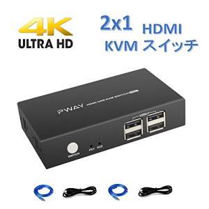HDMI KVMスイッチ2ポート切替器、UHD 4K @ 30Hzをサポート、下位互換性、電源不要、4つのUSB 2.0ハブおよびケーブル付|rakuget