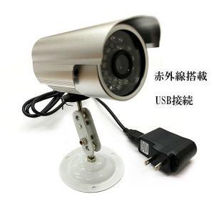 防犯カメラ 3.6mm広角レンズ USB接続 赤外線 24灯搭載 録画一体型