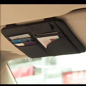 サンバイザー収納ポケット アイデアグッズ シンプルに収納  ベージュ・ブラック  約16.3cm×約...