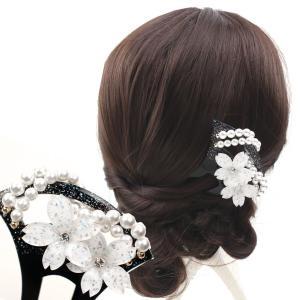 バチ型パール簪(かんざし)ラメ桜  髪飾り 結婚式 和装 着...