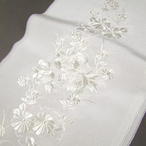 刺繍半衿(半襟)・白/白 雪輪に菊と牡丹 結婚式 成人式 卒...